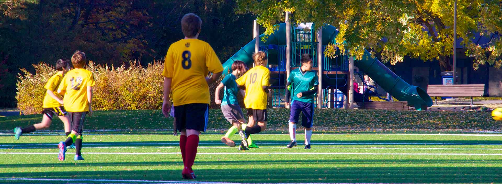 Youth boys soccer game at Shoreline A and B turf fields.