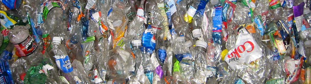 Plastic bottles compressed at Woodinville Recycling Center