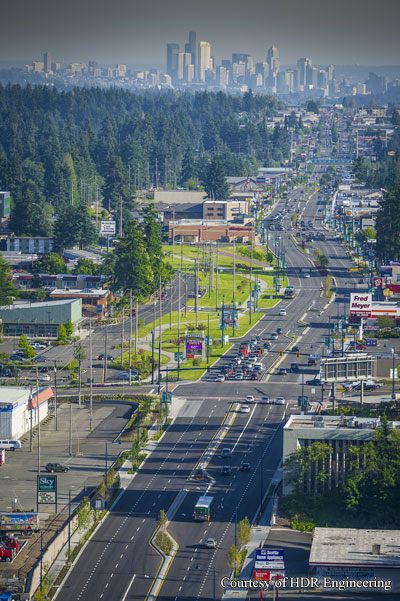 Aerial view of Aurora Avenue North looking south from N 185th Street to the Seattle skyline.