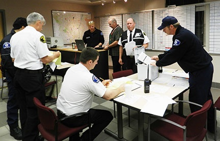 Fire Department personnel in the City of Shoreline Emergency Operations Center, or EOC, during a drill