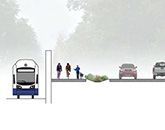 Illustration of trail next to the roadway.