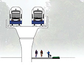 Illustration of trail under the light rail alignment.