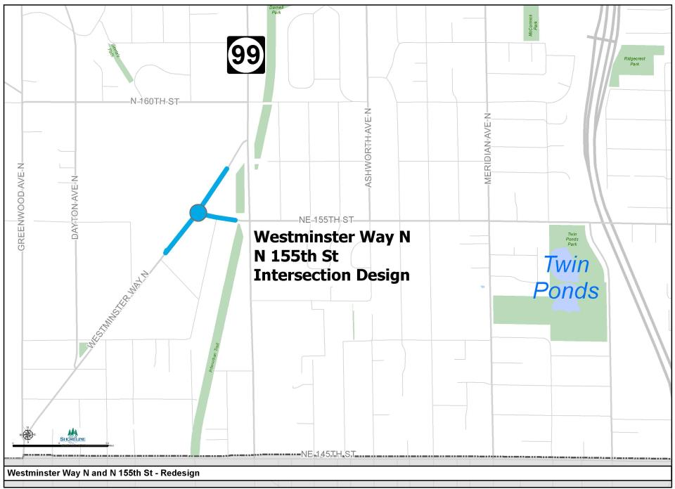 Map of Westminster Way N & N 155th Intersection Project