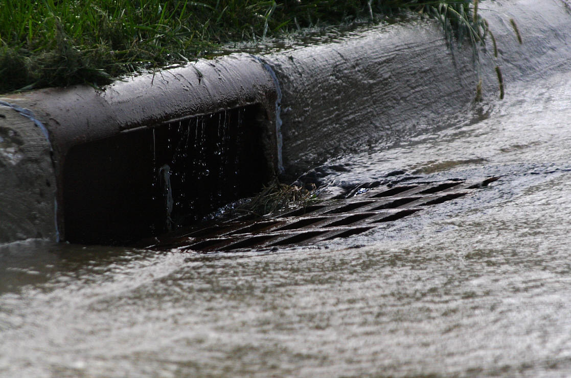 storm drain with water