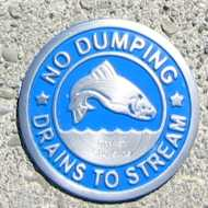 No Dumping, drains to stream medallion