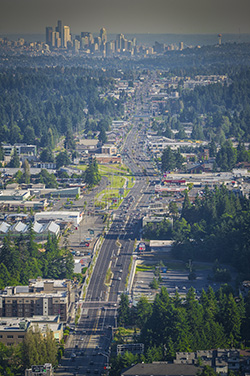 aerial view of Aurora Corridor courtesy of HDR Engineering