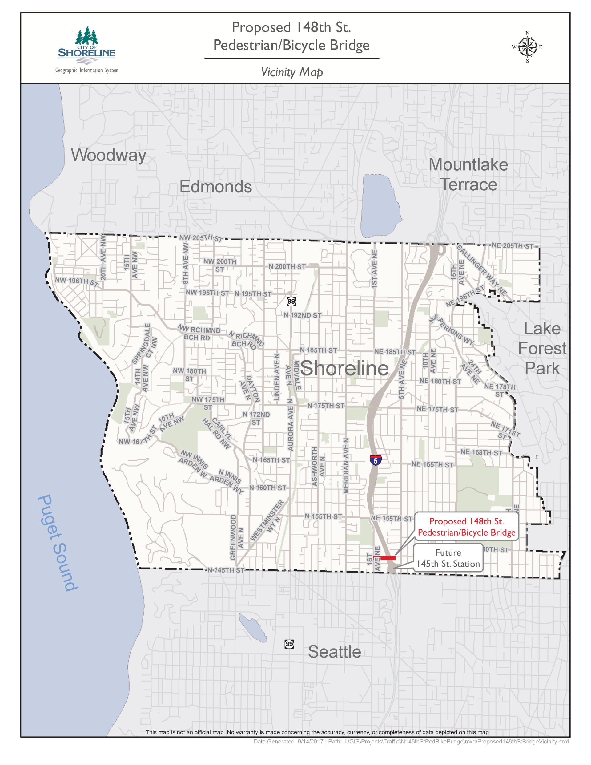 Map of Shoreline with location of potential 148th Street pedestrian bridge at the future 145th Street light rail station identified.
