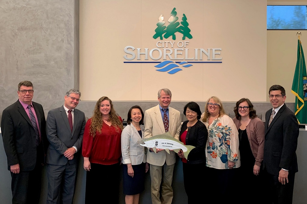 Ellen Southard of Salmon-Safe presents Salmon-Safe Certification to City Council