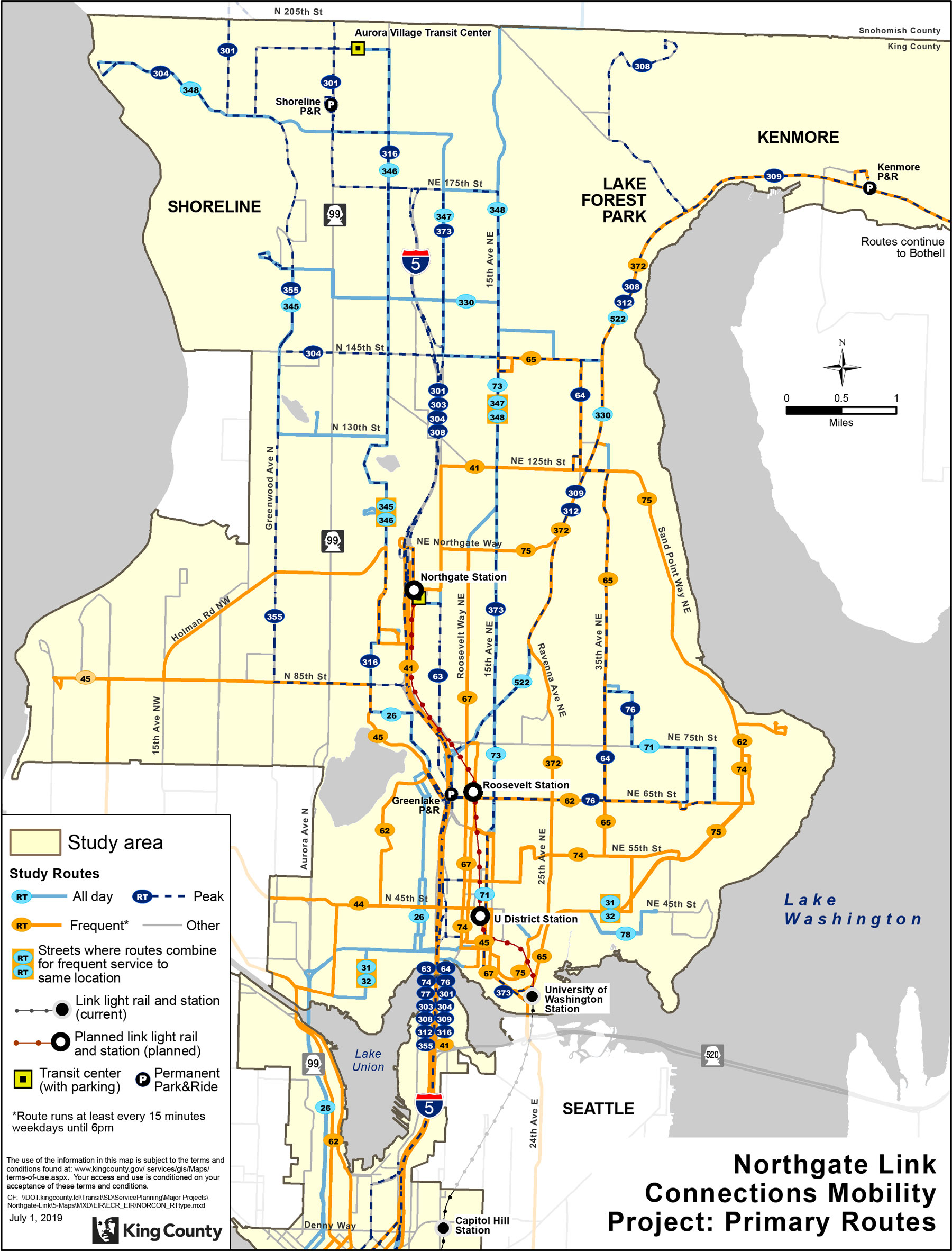 Map of current Metro routes around future north link light rail