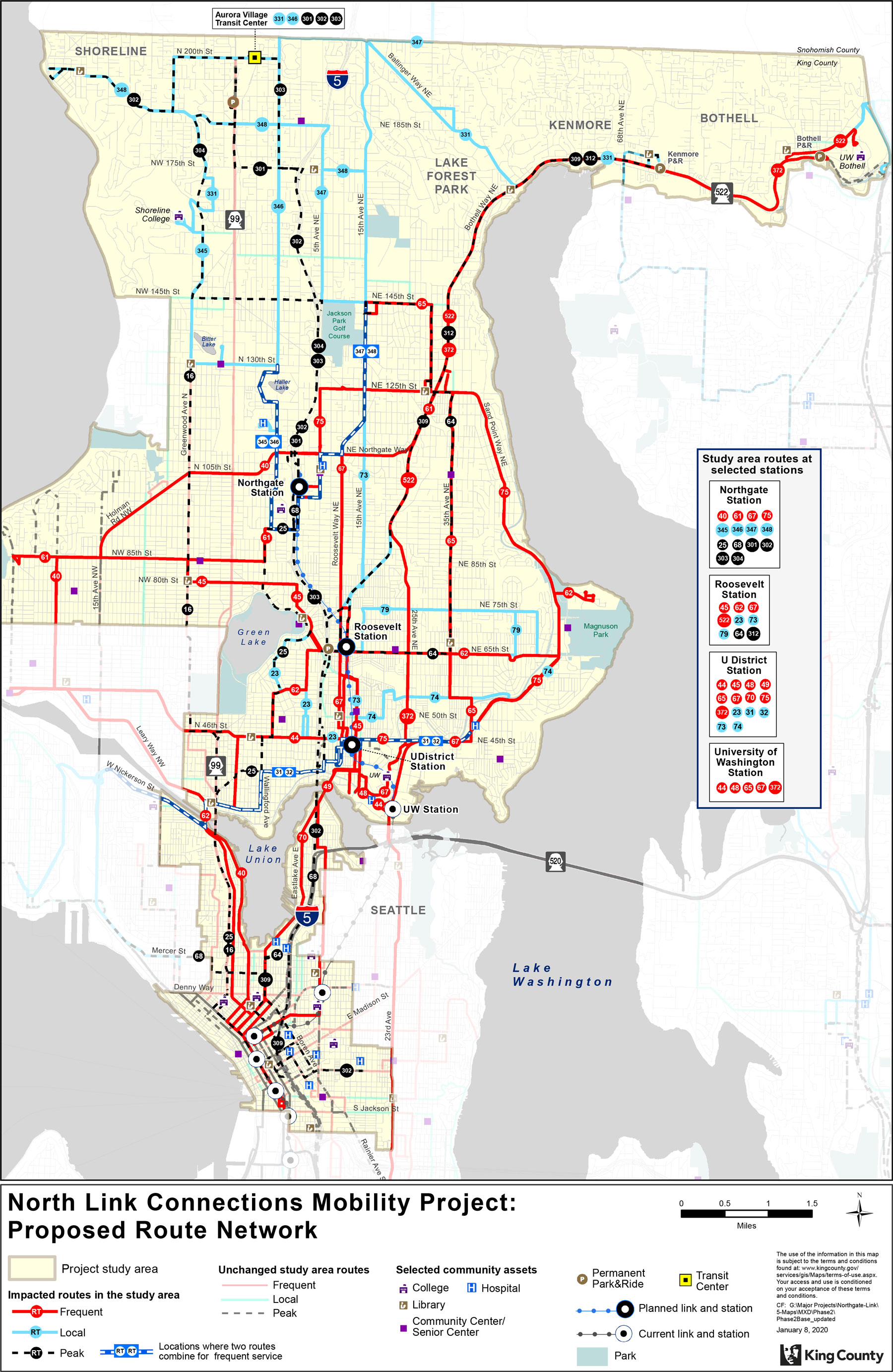 Map of proposed Metro routes around future north link light rail