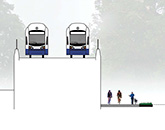 Illustration of trail next to a raised light rail alignment.