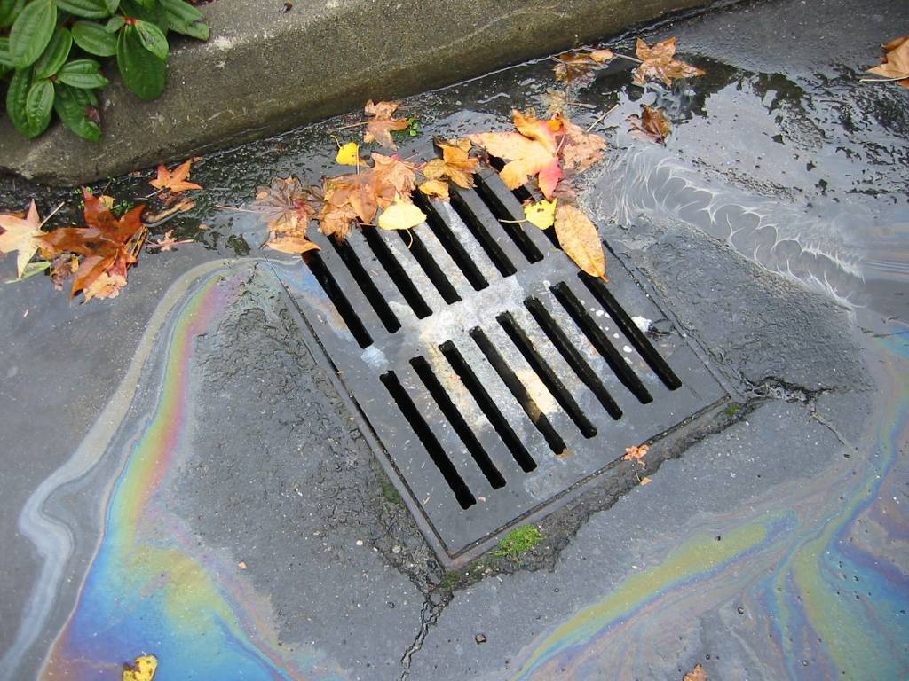 catch basin with gas spill